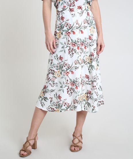 Saia-Feminina-Midi-Evase-Estampada-Floral-com-Botoes-Branca-9892067-Branco_1