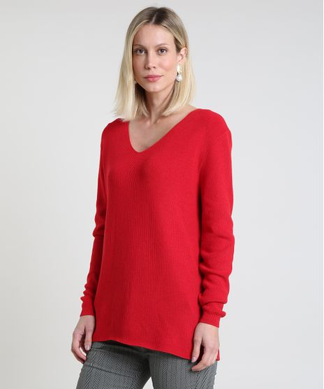 Sueter-Feminino-em-Trico-Canelado-Decote-V-Vermelho-9808728-Vermelho_1