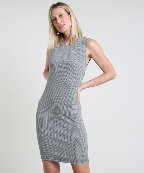Vestido-Feminino-Basico-Curto-Estampado-Pied-de-Poule-Sem-Manga-Branco-9832639-Branco_1