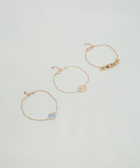 Kit-de-3-Pulseiras-Femininas-com-Folhas-e-Medalha-Dourado-9860319-Dourado_1
