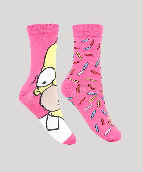 Kit-de-2-Meias-Femininas-Cano-Medio-Os-Simpsons-Rosa-9856787-Rosa_1
