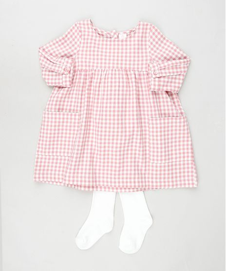Conjunto-Infantil-de-Vestido-Estampado-Xadrez-Manga-Longa---Meia-Calca-Rosa-9777015-Rosa_1