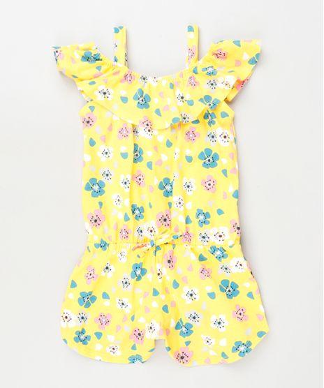 Macaquinho-Infantil-Open-Shoulder-Estampado-Floral-com-Babado-Manga-Curta-Amarelo-9913806-Amarelo_1