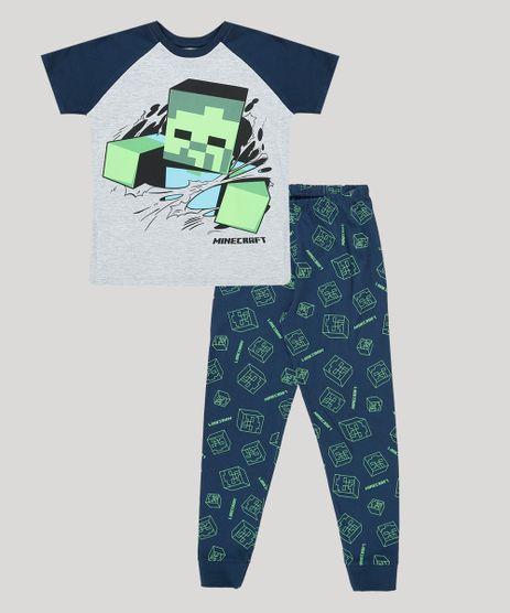 Pijama-Infantil-Minecraft-Camiseta-Manga-Curta-Cinza-Mescla-9884816-Cinza_Mescla_1