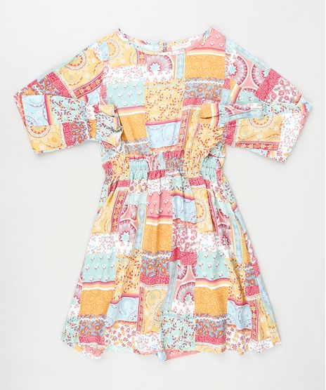 Vestido-Infantil-Patchwork-Manga-Longa-Multicor-9906182-Multicor_1