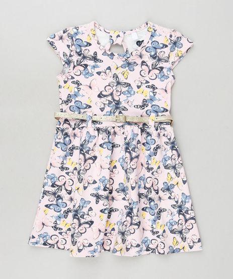 Vestido-Infantil-Estampado-de-Borboletas-com-Cinto-Manga-Curta-Off-White-9909944-Off_White_1