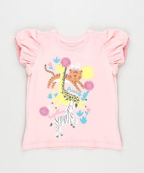 Blusa-Infantil-Animais-com-Glitter-Manga-Curta-Rosa-Claro-9887644-Rosa_Claro_1