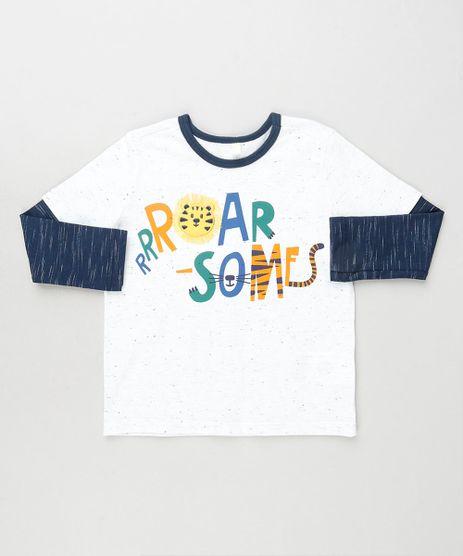 Camiseta-Infantil-com-Estampa-Interativa-de-Tigre-Manga-Longa-Branca-9871522-Branco_1