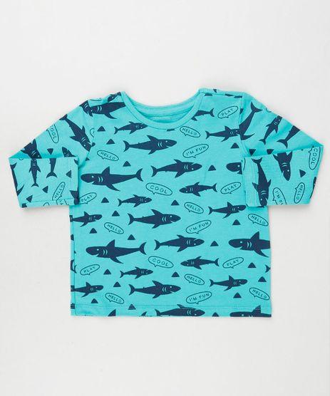 Camiseta-Infantil-Estampada-de-Tubaroes-Manga-Longa-Azul-9943683-Azul_1