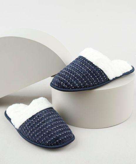 Pantufa-Slipper-Feminina-em-Trico-com-Pelo-Azul-Marinho-9860461-Azul_Marinho_1