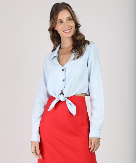 Camisa-Feminina-Cropped-com-No-Manga-Longa-Decote-V-Azul-Claro-9887384-Azul_Claro_1