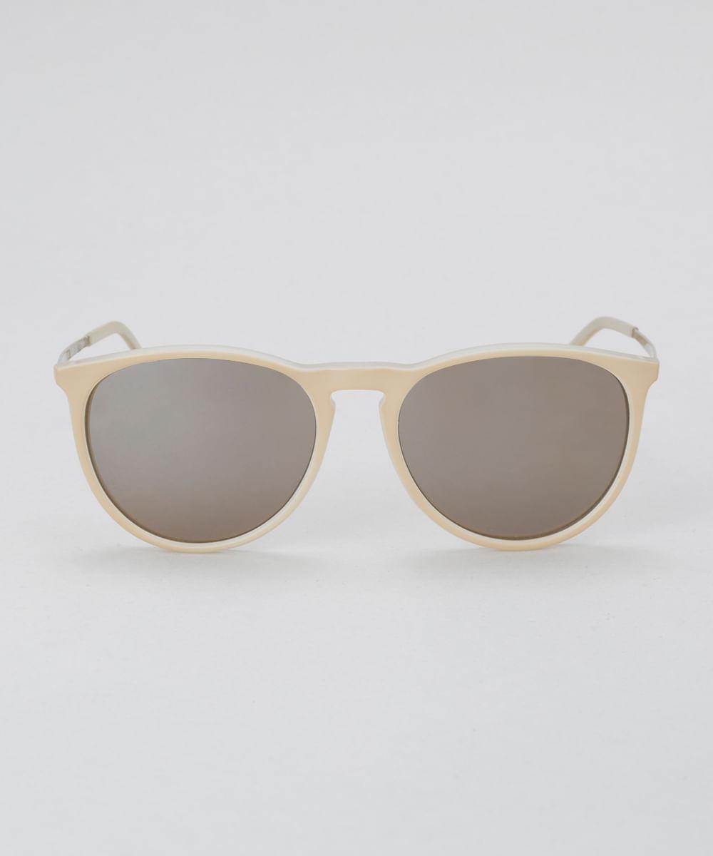 3ad727239f Óculos de Sol Redondo Feminino Oneself Bege Claro - ceacollections
