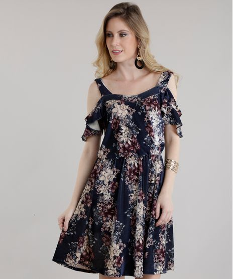 5f0d49ec5 Vestido-Open-Shoulder-Estampado-Floral-em-Veludo-Azul-