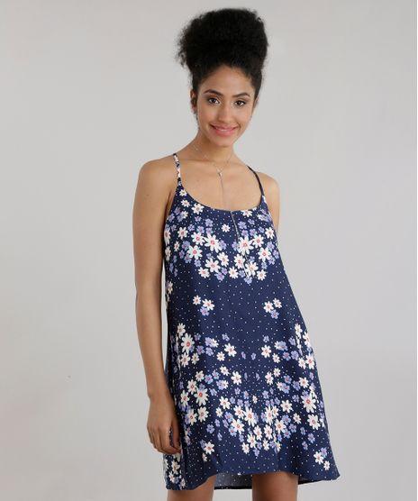 4edcaf8da2 Vestido-Estampado-Floral-Azul-Marinho-8587513-Azul Marinho 1