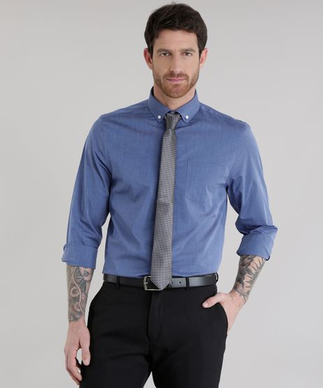 Camisa-Comfort---Gravata-em-Jacquard-Estampada-Azul-Escuro-8581579-Azul_Escuro_1