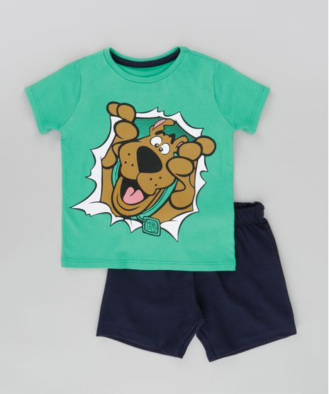 Conjunto-Scooby-Doo-de-Camiseta-Verde---Bermuda-em-Moletom-Azul-Marinho-8664343-Azul_Marinho_1