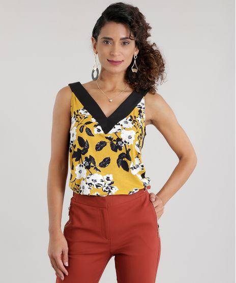 Regata-Estampada-Floral-com-Recorte-Amarelo-Escuro-8669299-Amarelo_Escuro_1