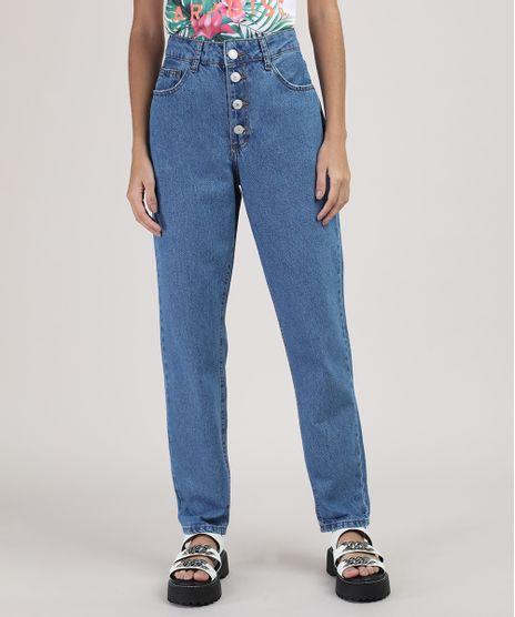 Calca-Jeans-Feminina-Mom-Cintura-Alta-com-Botoes-Azul-Medio-9926925-Azul_Medio_1