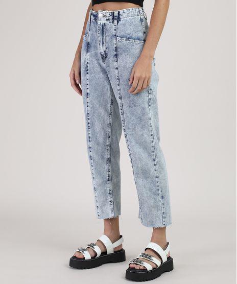 Calca-Jeans-Feminina-Reta-Cintura-Super-Alta-com-Recorte-Azul-Claro-9946087-Azul_Claro_1