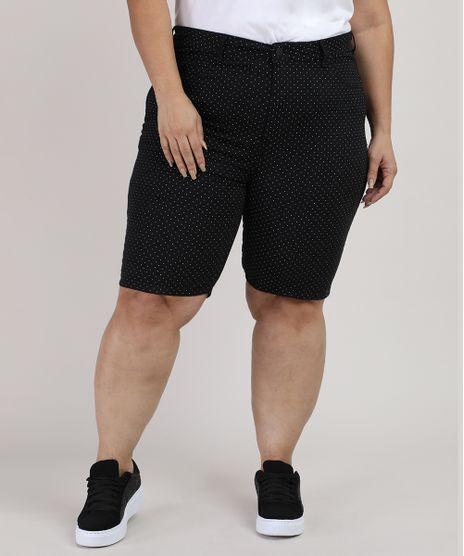 Bermuda-de-Sarja-Feminina-Plus-Size-Ciclista-Cintura-Alta-Estampada-de-Poa-Preta-9930404-Preto_1