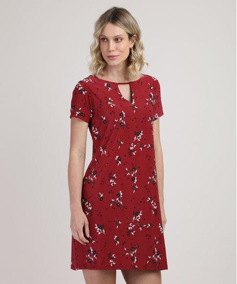 Vestido-Feminino-Curto-Estampado-Floral-com-Vazado-Manga-Curta-Vermelho-Escuro-9862197-Vermelho_Escuro_1