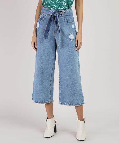 Calca-Jeans-Feminina-Pantacourt-Cintura-Alta-com-Faixa-para-Amarrar-Azul-Claro-9945405-Azul_Claro_1