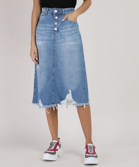 Saia-Jeans-Feminina-Midi-Destroyed-com-Bolsos-Azul-Medio-9932230-Azul_Medio_1