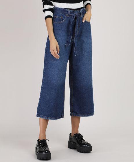 Calca-Jeans-Feminina-Pantacourt-Cintura-Alta-com-Faixa-para-Amarrar-Azul-Escuro-9945404-Azul_Escuro_1