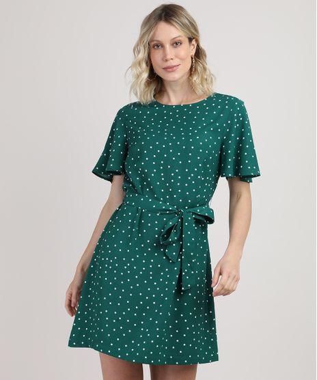 Vestido-Feminino-Curto-Estampado-de-Poa-com-Faixa-para-Amarrar-Manga-Curta-Verde-9920655-Verde_1