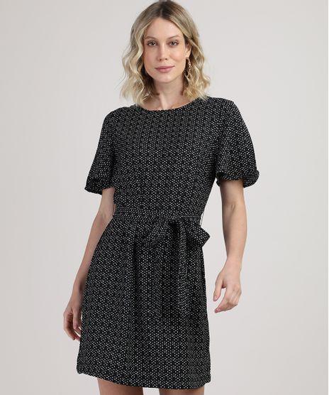 Vestido-Feminino-Curto-Estampado-Geometrico-com-Faixa-para-Amarrar-Manga-Curta-Preto-9920654-Preto_1