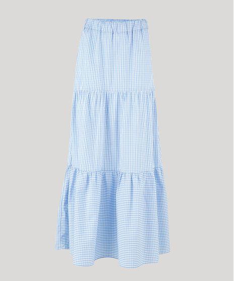 Saia-Feminina-Mindset-Longa-Estampada-Xadrez-Vichy-com-Recortes-Azul-Claro-9947924-Azul_Claro_1