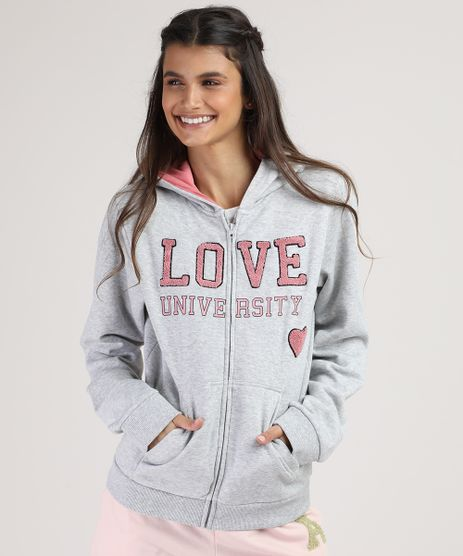 Blusao-Infantil--Love--em-Moletom-com-Capuz-e-Bolso-Cinza-Mescla-9797519-Cinza_Mescla_1