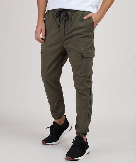 Calca-de-Sarja-Masculina-Jogger-Slim-Cargo-Verde-Militar-9912393-Verde_Militar_1