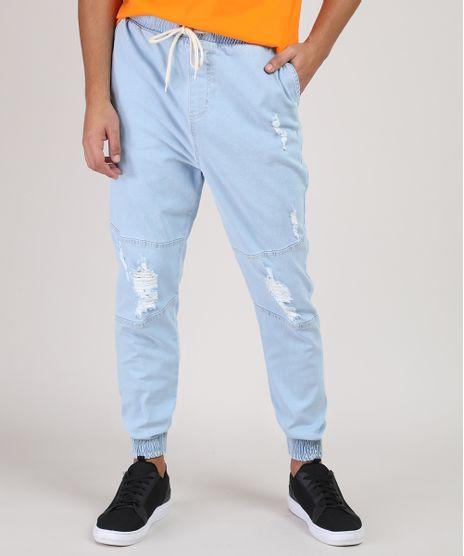 Calca-Jeans-Masculina-Jogger-com-Rasgos-e-Cordao-Azul-Claro-9944207-Azul_Claro_1