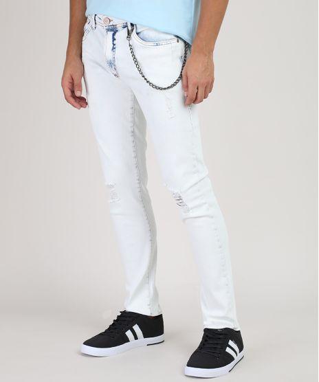 Calca-Jeans-Masculina-Skinny-com-Rasgos-e-Corrente-Azul-Claro-9907164-Azul_Claro_1