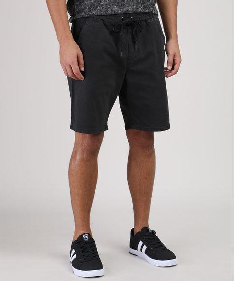 Bermuda-Jeans-de-Moletom-Masculina-Slim-com-Cordao-Preta-9899518-Preto_1