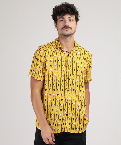 Camisa-Masculina-Tradicional-Snoopy-Manga-Curta-Mostarda-9922073-Mostarda_1