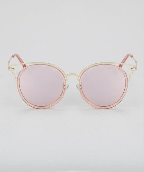 bb0979d4c Oculos-de-Sol-Redondo-Feminino-Oneself-Dourado-8732534- ...