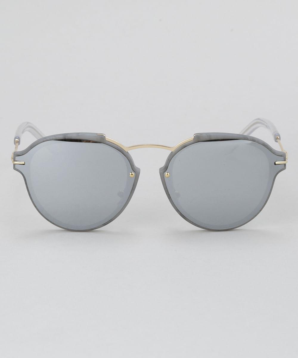 Óculos de Sol Redondo Feminino Oneself Cinza - ceacollections cc8cc9780a