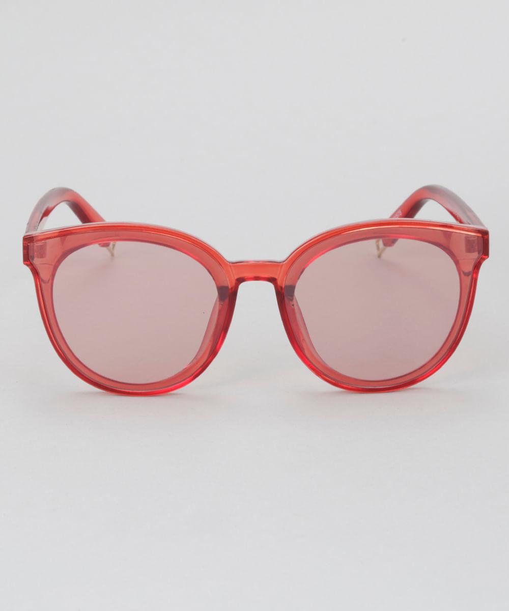 Óculos de Sol Redondo Feminino Oneself Vermelho - Único c2f643054f