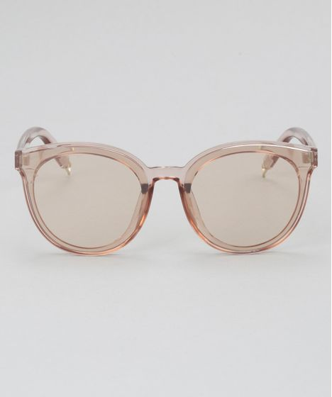 35c7c06e4 Óculos de Sol Redondo Feminino Oneself Bege Claro - cea