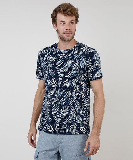 Camiseta-Masculina-BBB-Comfort-Estampada-de-Folhagem-Manga-Curta-Gola-Careca-Azul-Marinho-9897466-Azul_Marinho_1