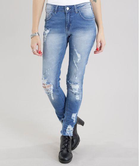 Calça Jeans Skinny Destroyed em Algodão + Sustentável Azul Médio - cea bc29515b53b