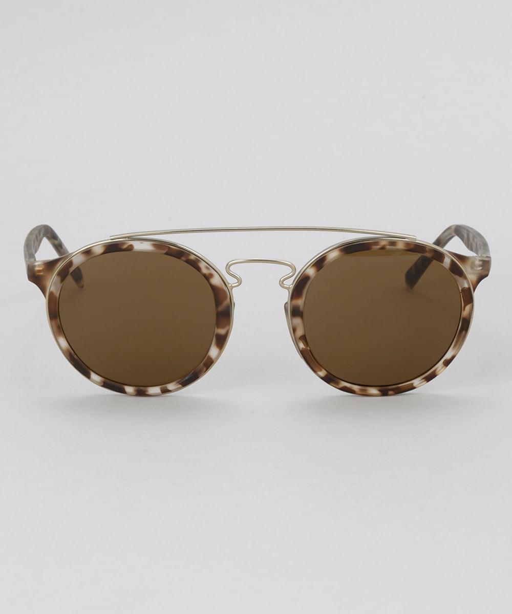 26578f1b2787f Óculos de Sol Redondo Feminino Oneself Tartaruga - ceacollections