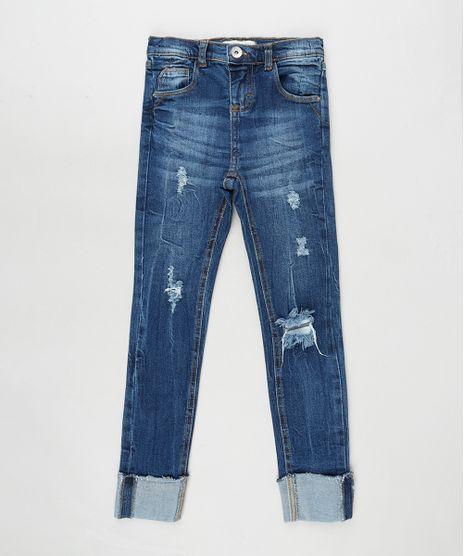 Calca-Jeans-Infantil-Skinny-com-Rasgos-e-Barra-Dobrada-Azul-Escuro-9892642-Azul_Escuro_1