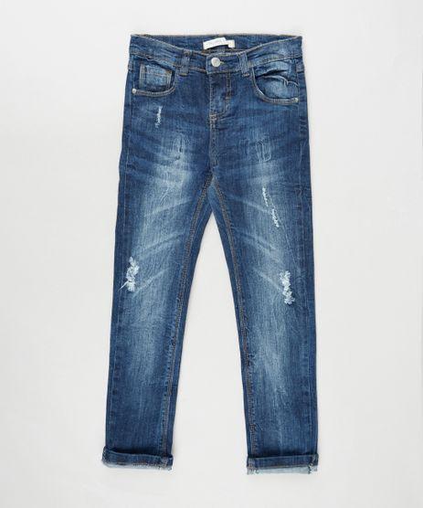 Calca-Jeans-Infantil-Reta-com-Rasgos-Azul-Escuro-9892616-Azul_Escuro_1