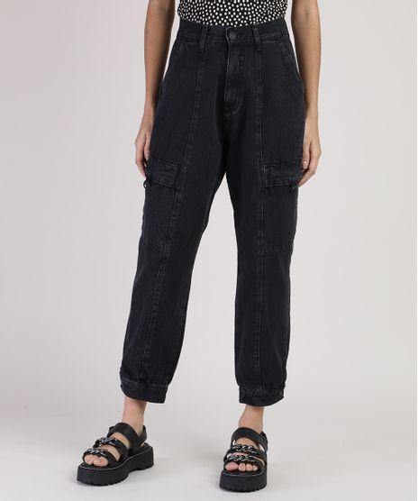 Calca-Jeans-Feminina-Cargo-Cintura-Media-Preta-9944907-Preto_1