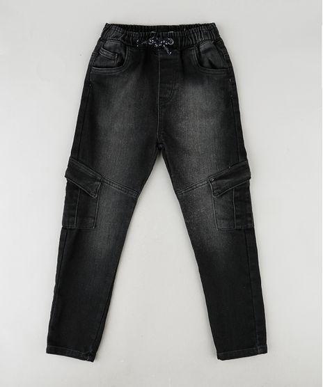Calca-Jeans-Infantil-Cargo-com-Bolsos-Preta-9889204-Preto_1