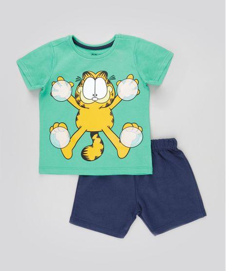 Conjunto-Garfield-de-Camiseta-Verde---Bermuda-em-Moletom-Azul-Marinho-8676764-Azul_Marinho_1
