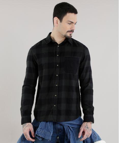 Camisa-Xadrez-em-Flanelada-Verde-Escuro-8623412-Verde Escuro 1 ... 1ba5ab8ea68be